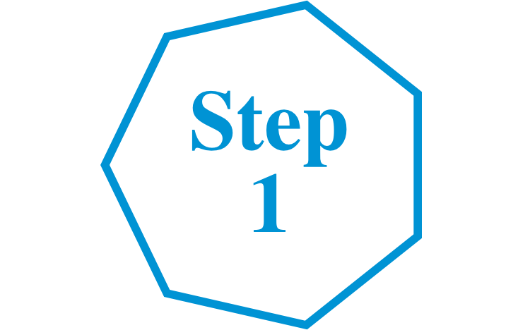 Step 1 transparent background blue font hexagon icon