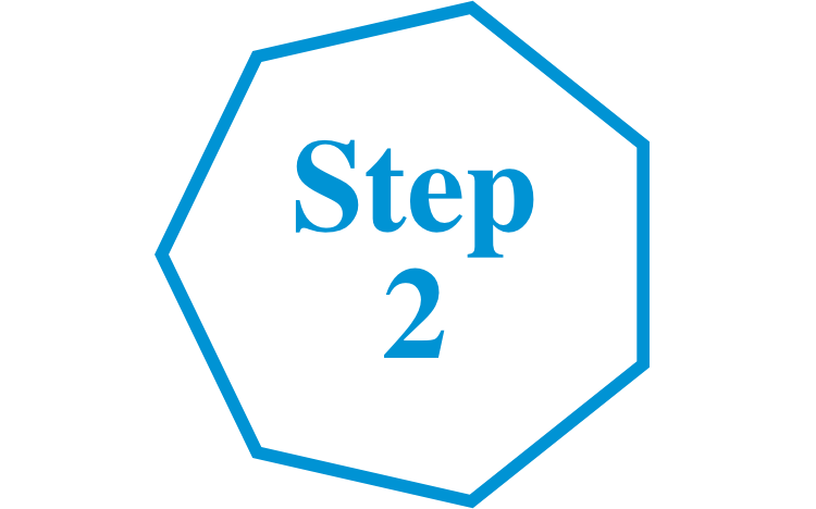 Step 2 transparent background blue font hexagon icon