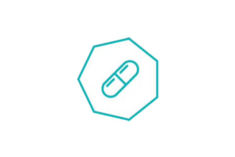teal outline of a pill