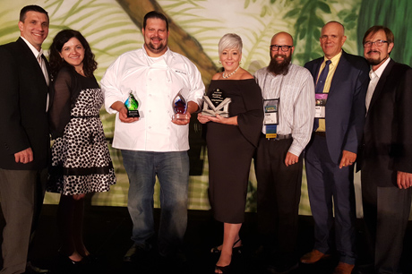 Geisinger Executive Chef Matt Cervay accepts Premier's Culinary Cup Award.