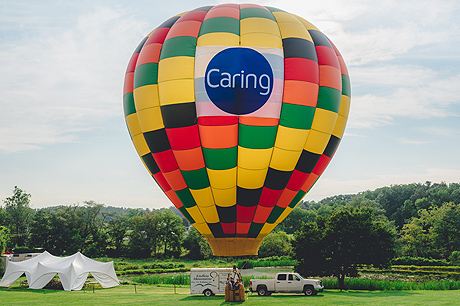 Hot air balloon tethered to the ground