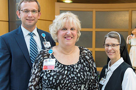 Pictured are Kyle Snyder, chief administrative officer at Geisinger Holy Spirit, Kristine Rosancrans and Sister Mary Joseph Albright