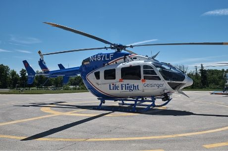 A Geisinger Life Flight helicopter on the helipad.