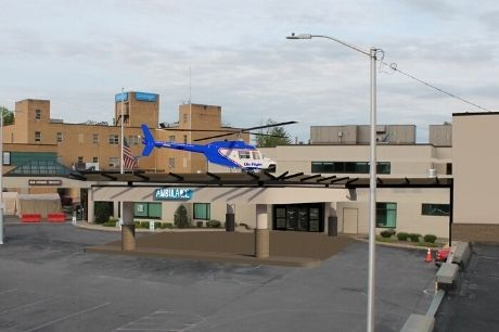 Artist rendering of a Geisinger Life Flight helicopter on the Geisinger Jersey Shore Hospital heliport.