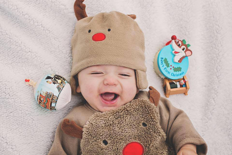 Baby in reindeer outfit