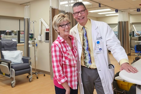 cancer patient and doctor smiling geisinger