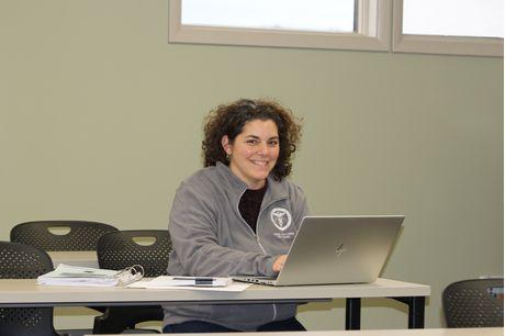 Nursing student Rachel French works at a laptop in a classroom at the Geisinger Lewistown Hospital School of Nursing.