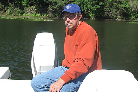 Robert Nye on his boat.