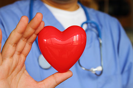 doctor holding heart prop