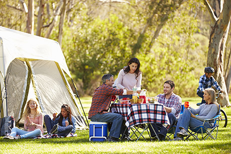 family camping woods tent