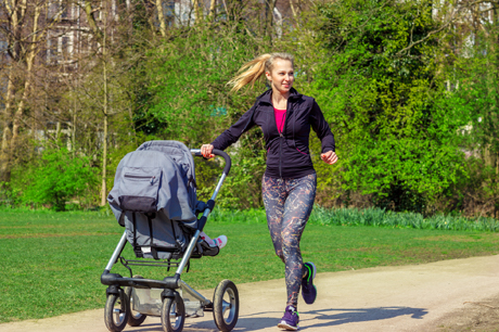 Mom running with baby stroller