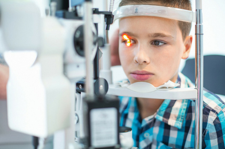 Child receiving an eye exam