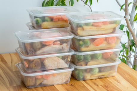 Food in containers for meal prepping.