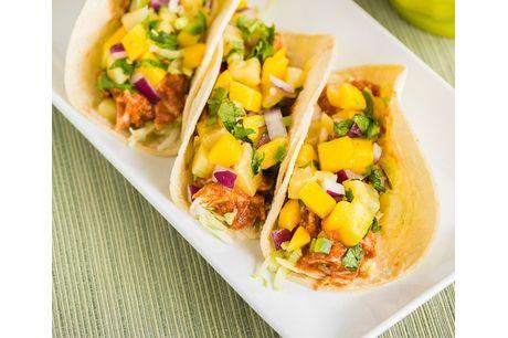Grilled balsamic chicken and pineapple tacos