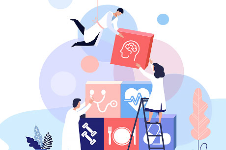 Colorful illustration depicting medical team care.
