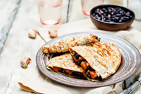 Heart-healthy black bean quesadilla.