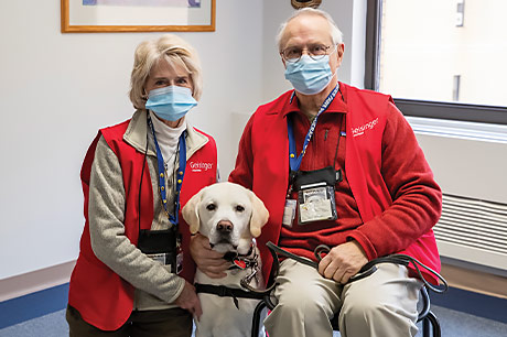 Jim and Connie Hepner of Sunbury with Drake, a certified therapy dog.