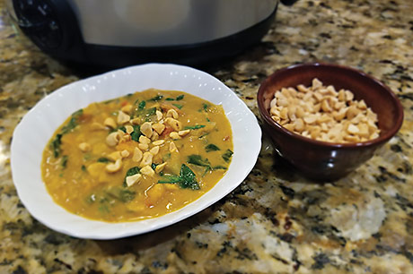 Slow-cooker peanut stew is both tasty and savory.