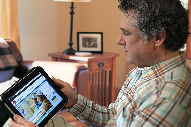 Patient looking at myGeisinger portal via tablet