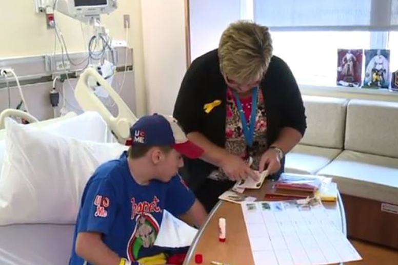 In-hospital teacher instructs a student