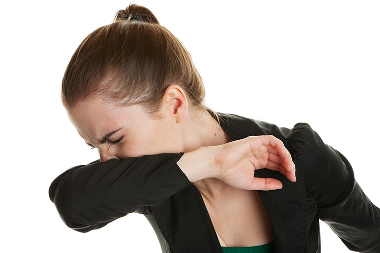 Cover your cough or sneeze by burying your nose and mouth in your crooked elbow